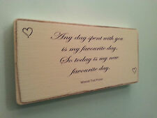 Shabby Chic Winnie The Pooh Quote Sign. Wedding Gift Plaque. Solid Wood. #8
