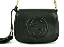 GUCCI Black Leather Quilted SOHO Logo Flap Chain Strap Crossbody Bag