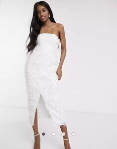 Forever U Midi Dress White Feather Size 10 NEW
