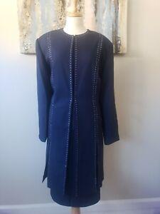 ST ANTHONY Women 3PC Stunning Navy Blue Studded Skirt Suit Size 18