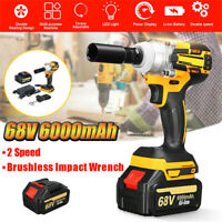68V Electric Impact Wrench 6000mAh Brushless 2Speed Cordless Li-Ion With Battery