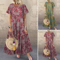 ZANZEA Femme Party Robe Dresse Loisir Manche Courte Imprimé floral Plage Plus