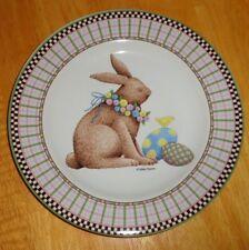 "Debbie Mumm Easter Bunny Salad Dessert Plate Easter Eggs Plaid Rim 8"" Euc"