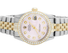 Rolex Datejust 2 Tone 18K Gold 31MM S.Steel Jubilee Pink Dial Diamond Watch 2 Ct