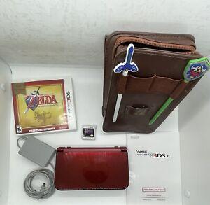 Nintendo 3DS XL Red w/ charger 2 Zelda games, 2 Stylus' & Zelda Carrying Case