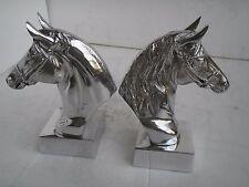 Aluminium Horse Head Bookend 9 inches each Shelf Top Figurine Sculpture .