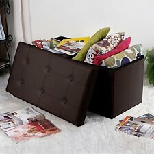 Toy Storage Chest Stool Faux Leather Ottoman Bench Coffee Table Seat Organiser