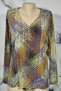 DANA BUCHMAN Ivory Multicolor V Neck Long Sleeved Top Medium Beaded Neckline