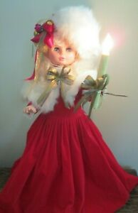 """Vintage Rennoc 26"""" Animated Lighted Girl Christmas Figure Red Dress w/ Faux Fur"""