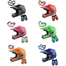 WOW Youth Motocross Helmet MX Bike ATV Spider Helmet +Goggle +Gloves Kids Bundle