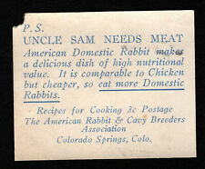 Opc Uncle Sam Needs Meat American Rabbit & Cavy Breeders Association Label Mng