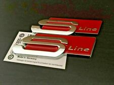 2x Audi Sline S Line silver/ Red Boot Rear Tailgate Badge Aluminium Sticker Embl