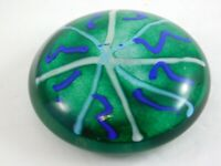 Adam Aaronson Studio Art Glass Paperweight Hand Blown Green 1993 Made in England