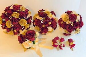 Bride Wedding Package, 13 Piece, Burgundy Silk Roses,Gold And Ivory