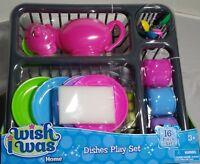 Kids Play Kitchen Dishes Drainer Set Teapot Plates Cups Utensils Sponge 16pcs 3+