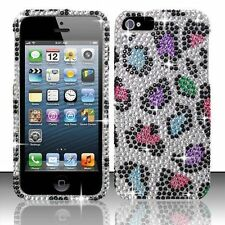 For iPhone 5 5S SE Crystal Diamond BLING Hard Case Phone Cover Rainbow Leopard