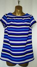 BHS Striped short sleeved Casual Top Blue/black /Beige /purple Size 8