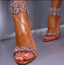 Ladies Women's Open Toe Rhinestones Ankle Strappy Sandals Stilettos Heel Shoes