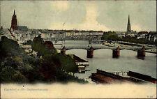 FRANKFURT Main Hessen (Postkarte Stempel) 1907 Fluss Partie Brücke SACHSENHAUSEN