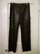 New: BRIONI Black Leather Flat Front Pants, Size 10