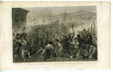 1860s Civil War Print Attack on 6th Mass at Baltimore