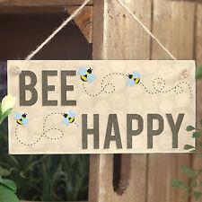 Bee Happy - Cute Handmade Wooden Decor Sign / Plaque Bumble Bee Honeycomb Design