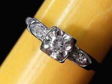 Antique Retro 14K White Gold Solitaire Engagement Ring Fashion Ring Size 7.25