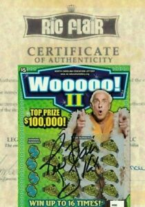 RIC FLAIR AUTOGRAPHED WOOOOO! II LOTTERY TICKET SIGNED w/ COA SOLD OUT WCW NWO