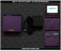 Nintendo Game Boy Advance GBA SP IPS MOD System 10 Level Brightness  - Purple