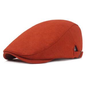 Men Cotton Solid Color Golf Beret Flat Hat Driving Caps Outdoor Newsboy Hats