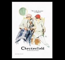 1920s Chesterfield Cigarettes Ad PHOTO Bar Sign Vintage Design Advertisement