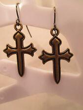 "earrings cross Christian Easter bronze black hook style dangle about 3/4"" long"