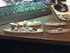 lot of 4 Vintage Cast Metal Miniature Navy Ships Tootsie Toy restore or parts