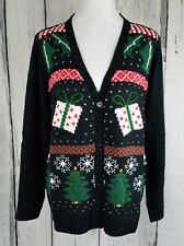 ERIKA Womens Yana Holiday Yay Cardigan Ugly Christmas Sweater Black L