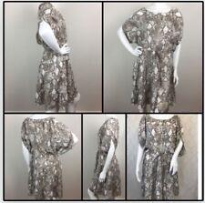 LOFT by ANN TAYLOR XS Relaxed Blouson Brown White Snake Print DRESS BNWOT