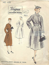 1951 Vintage VOGUE Sewing Pattern B38 COAT (1485)