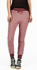 2015 NWT WOMENS VOLCOM LIVED IN STRIPE PANTS $50 S mauve pink comfy casual cuffs