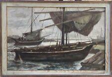 Herbert Bartholomäus 1910 - 1973 Zeesenboote dans Port - Althagen Ahrenshoop
