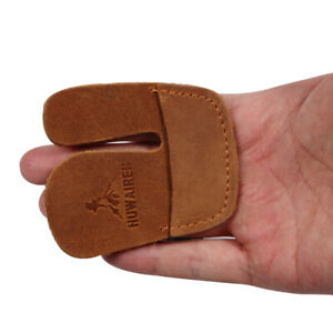 Archery 3 Finger Tab Right Hand Cowhide Protector Glove for Recurve Bow Hunting