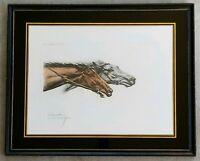 "LEON DANCHIN Antique 1930's Color Etching ""Racing Horses"" ULTRA RARE Horse Race"