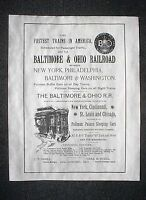 """(753L) RAILROAD BALTIMORE & OHIO PULLMAN STEAM TRAIN 1890 ADVERT REPRINT 11""""X14"""""""