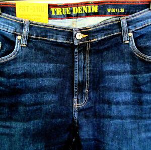 Neu Herren Übergröße Extra Länge Jeans Hose Stretch blue blau 66  5XL (W50 L35)