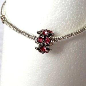 BEAUTIFUL Antique Silver Deep Pink Rhinestone Jewelled Charm Bead for Bracelet