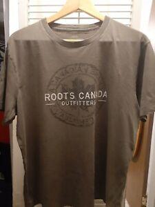 Vintage Army Green Roots Athletics Canada T-Shirt Cotton Adult Medium