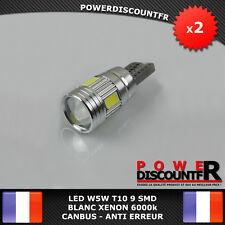 2 Veilleuses LED W5W T10 Canbus ANTI ERREUR BLANC XENON 6000k 6 SMD voiture moto