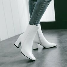 Womens Square Toe Chelsea Ankle Boots Leather Warm Block Heels Ladies Zip Shoe B