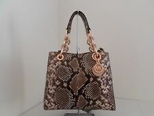 NWT AUTH MICHAEL KORS CYNTHIA SMALL SNAKE EMBOSSED LEATHER SATCHEL-$378-BLOSSOM