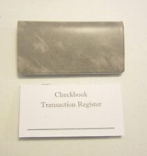 1 GREY MARBLE VINYL CHECK BOOK COVER & 15 CHECKBOOK TRANSACTION REGISTERS