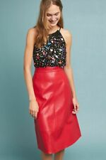NEW Anthropologie Dauphine A-Line Faux Leather Skirt by Eri + Ali, Red, Sz 0, 2P