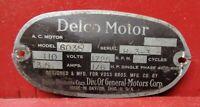 VINTAGE DELCO MOTOR BADGE ID INFORMATION TAG STEAMPUNK